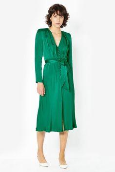 8f96676be41 Ghost London Green Meryl Button Through Satin Dress Green Satin Dress