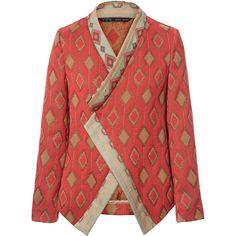 Zara Jacquard Pattern Crossover Blazer ($100) ❤ liked on Polyvore