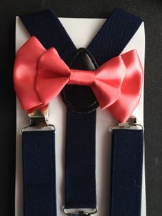 Navy Blue Suspenders and Coral Bowtie by BePrettyBeBold on Etsy
