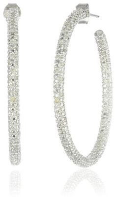 Sterling Silver Diamond Hoop Earrings, (.5 cttw, G-H Color, I2-I3 Clarity) -