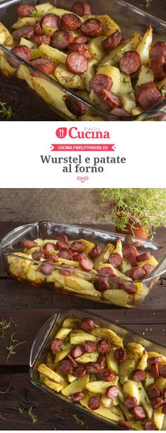 Frankfurters and baked potatoes-Wurstel e patate al forno Frankfurters and baked potatoes - I Love Food, Good Food, Yummy Food, Dinner Dishes, Dinner Recipes, Meat Sauce Recipes, Creative Food, Vegetable Recipes, Italian Recipes