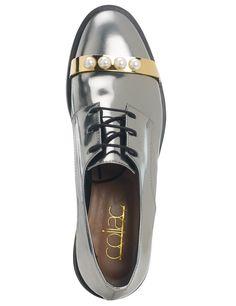 Ruthenium Leather Derby Alice Shoes | Coliac | Avenue32