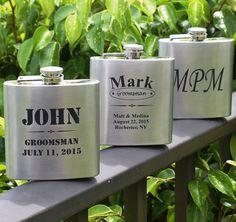 Personalized Silver Flask Groomsmen gift by MyPersonalMemories