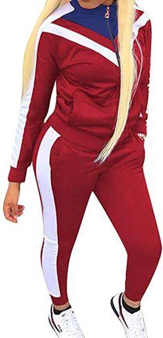 d49dee3e36f1  SOMTHRON Women s 2 Piece Full Zip Track Jacket Pants Sweatsuits Colorblock  Striped Trim Fleece Tracksuit