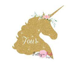 Gold Unicorn Age Vinyl Glitter Iron On - Pretty in Pink Supply