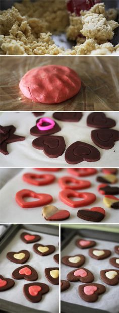 Neapolitan Valentine's Day Heart Cookies recipe #baking #sweets / via food on paper