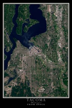 Tacoma Washington From Space Satellite Art Poster