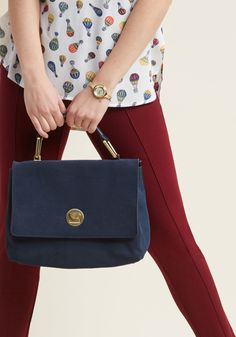 Uptown Accessorizing Suede Bag - Every bonafide city slicker needs a solid purse on which she can always rely - like this navy bag, for example! Matte gold hardware elevates the suede exterior and faux-leather sections of this classic shoulder bag, completing a look that embodies the cosmopolitan aesthetic you envision.