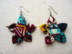 Boucles d'oreille en tissu africain à motif