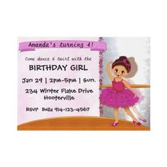 Cute #Ballet or #Ballerina Pink TuTu #Party Invitation for kids. Personalize at no extra charge.