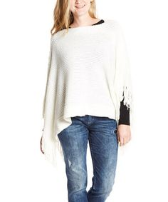 Another great find on #zulily! White Fine Knit Fringe Poncho by Life and Style Fashions #zulilyfinds