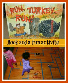 Turkey runs away from the farm on Thankgiving day. Book and a fun activity.