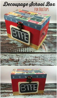 My Mom Made That: Decoupage School Box for BoxTops {Sponsored by General Mills and Box Tops for Education}