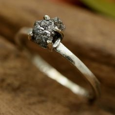 Grey silver rough diamond ring in prongs setting with sterling silver high polished band