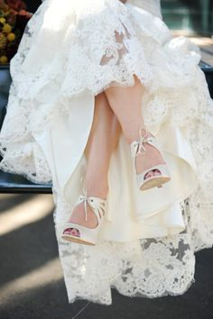 Love the lace and lace up pumps - darling bride