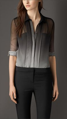 degrade silk shirt in black by Burberry Modest Fashion, Unique Fashion, Girl Fashion, Fashion Dresses, Womens Fashion, Burberry Shirt, Burberry Sale, Fashion Tips For Girls, Fashion Ideas
