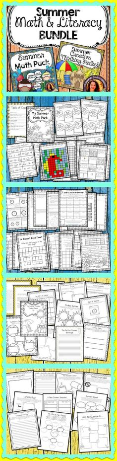Keep  your student's skills sharp this summer!  This bundle contains over 50 pages of engaging Summer themed math and literacy activities.  The math pack covers a wide variety of common core standards while the creative thinking packet will have kids of all ages thinking outside the box and writing!  Perfect to send home with your students, for review, small groups and more!
