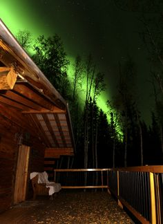Northern Lights above the Cabin in Alaska.