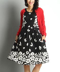 Loving this Black Falling Petal Sleeveless Fit & Flare Dress on #zulily! #zulilyfinds