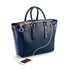 Marylebone Tote in Navy Pebble & Navy Lizard from Aspinal of London