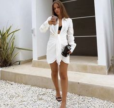 Club Dresses, Summer Dresses, Kendall, Sexy White Dress, White Mini Dress, Androgynous Fashion, Blouse Dress, Cheap Dresses, Designer Dresses