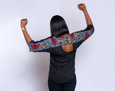 Chiffon-silk and Ankara combination top, African print top, African clothing, Ankara top, Ankara clothing, Black top African Print Dresses, African Print Fashion, African Fashion Dresses, African Dress, Ankara Clothing, Ankara Tops, Curvy Girl Outfits, Casual Looks, Smart Casual