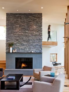 Contemporary Room Decor Good idea for fireplace makeover. Or do in white?