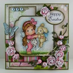 From My Craft Room: Hoppy Easter - Magnolia-licious 'Pink, Pearls and Ribbons' Hoppy Easter, Easter Bunny, Handmade Card Making, Magnolia Stamps, Beautiful Handmade Cards, Card Sketches, Cute Cards, Creative Cards, Paper Flowers