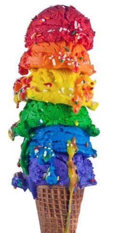 Rainbow scoops of ice cream multicolored ~~~ Boules de glace arc-en-ciel multicolores ~~~ ~~~ Source : Henry Hargreaves ~~~ Piu Design Rainbow Food, Taste The Rainbow, Over The Rainbow, Rainbow Things, Rainbow Stuff, Neon Rainbow, Rainbow Brite, Rainbow Ice Cream, Cupcakes