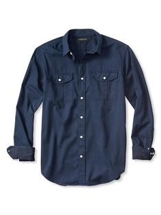 Slim-Fit Garment Dye Twill Utility Shirt