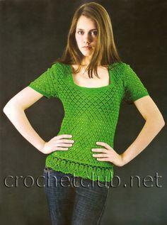 Зеленая футболка, связанная крючком - Вязание Крючком. Блог Настика. Схемы, узоры, уроки бесплатно