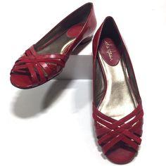 dcfc45502 Cole Haan Shoes Red Patent Flats Ladies 8.5B Peep Open Toe Woven Uppers   ColeHaanwithNike  OpenToeFlats