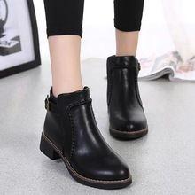 2015 todos los nuevos Sale caliente de la Pu mujeres botas de cuero Slip On moda Martin botas Skid resistencia Square botines de tacón AB-03(China (Mainland))