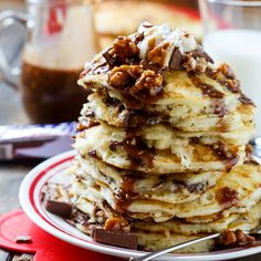 Snickers Pancakes   Spicy Southern Kitchen