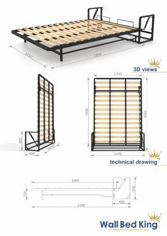 Wall Bed mechanisms from Wall Bed King murphy beds, the perfect hidden bed systems for maximising space for a modern clutter free environment. Folding Furniture, Folding Beds, Bedroom Furniture Design, Space Saving Furniture, Bed Furniture, Home Decor Furniture, Bedroom Decor, Build A Murphy Bed, Murphy Bed Plans