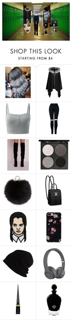 """""""First day of school look"""" by reesespieces3101 on Polyvore featuring Gorgeous Cosmetics, Yves Salomon, Louis Vuitton, SCHA, Christian Louboutin and EB Florals"""