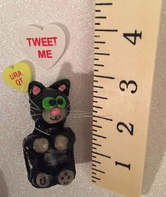 Kitty cat polymer clay ornament decoration cake topper charm figure figurine miniature dollhouse petlover gift wedding birthday holiday by CatsClayandMore on Etsy https://www.etsy.com/listing/251432174/kitty-cat-polymer-clay-ornament