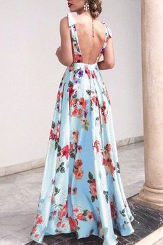 Pin on Chiffon maxi dress Vestido Maxi Floral, Floral Print Maxi Dress, Chiffon Maxi Dress, Maxi Dress With Sleeves, Boho Dress, Maxi Dresses, Casual Dresses, Sexy Maxi Dress, Vestidos Sexy
