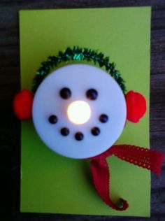 snowman tealight ornament | Variation on the tealight snoman. Instead of the paper hat I used ear ...