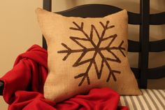 Burlap Snowflake Pillow  Christmas Pillow  by IronGateHome on Etsy, $22.00