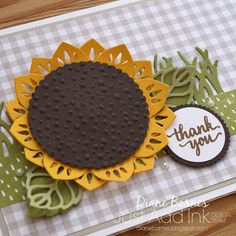 handmade sunflower thank you card using Stampin Up Eastern Beauty - Eastern Medallions stamp & die bundle from Eastern Palace suite, Stylish Stems & Basket Builder dies & Layering Circles dies. Card by Di Barnes #colourmehappy 2017-18 annual catalogue 2017 occasions catalogue.