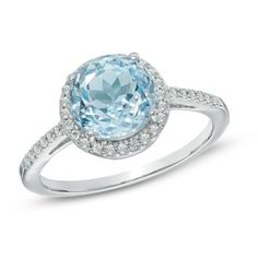 Zales 7.0mm Aquamarine and 1/20 CT. T.w. Diamond Promise Ring in Sterling Silver lZxJRLmA