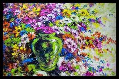 This magnificent 150cm by 200cm #painting would look perfect in your #lobby, #reception or #grandhall. Grab your chance to own this beautiful #artwork here in #dubai. #artistic #colorful #flowers  #art
