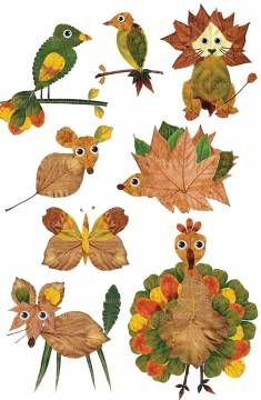Unique autumn clip art set of whimsical animals with googly-eyed, made with real leaves from my garden. Autumn Crafts, Fall Crafts For Kids, Nature Crafts, Art For Kids, Winter Craft, Autumn Activities, Craft Activities, Preschool Crafts, Toddler Crafts