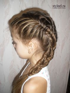 "A great way to style the top of the three-fish braid that's so popular right now... Two fishtail french braids on top, one regular fishtail on bottom, and braid the three ""tails"" together to finish."