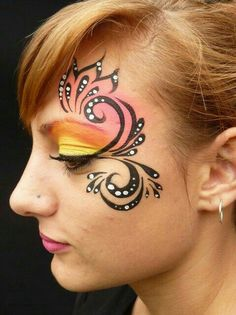 When you think about face painting designs, you probably think about simple kids face painting designs. Many people do not realize that face painting designs go beyond the basic and simple shapes that we see on small children. Adult Face Painting, Make Up Art, Face Painting Designs, Too Faced, Face Design, Eye Art, Fantasy Makeup, Creative Makeup, Face And Body