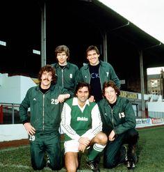 Detail of George Best at Hibernian, flanked by team-mates Tony Higgins, Joe Ward and Jackie MacNamara by Kent Gavin