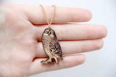 Owl Wooden Laser Cut Necklace by ladybirdlikes on Etsy, £12.00