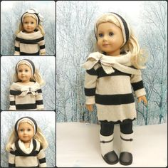 """18"""" Doll Clothes Oversize Sweater, Leggings, Headband, Gold and Silver Sparkle Sweater"""