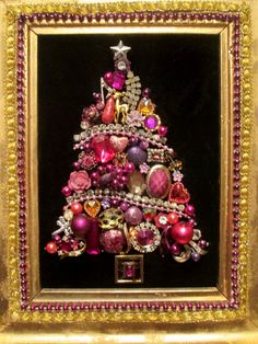 Christmas Tree Vintage Jewelry Decoration Rhinestones Charms Purples Gold Frame Jewelry Picture Wall art Holiday Gift Handmade    Christmas